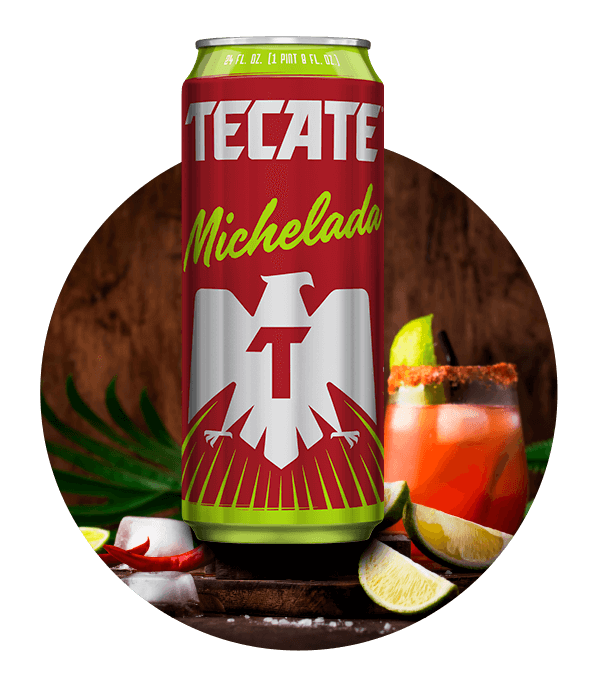 Image of a Tecate® Michelada next to a cocktail.