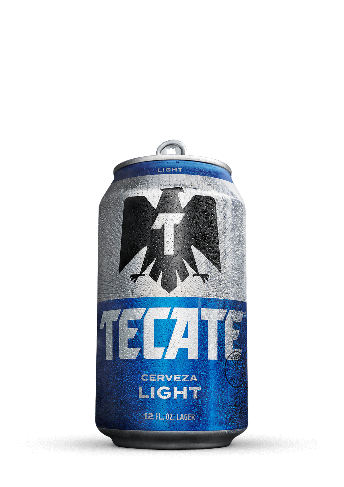 Tecate® Light 3.9% alc. vol. 12 oz blue and silver can.