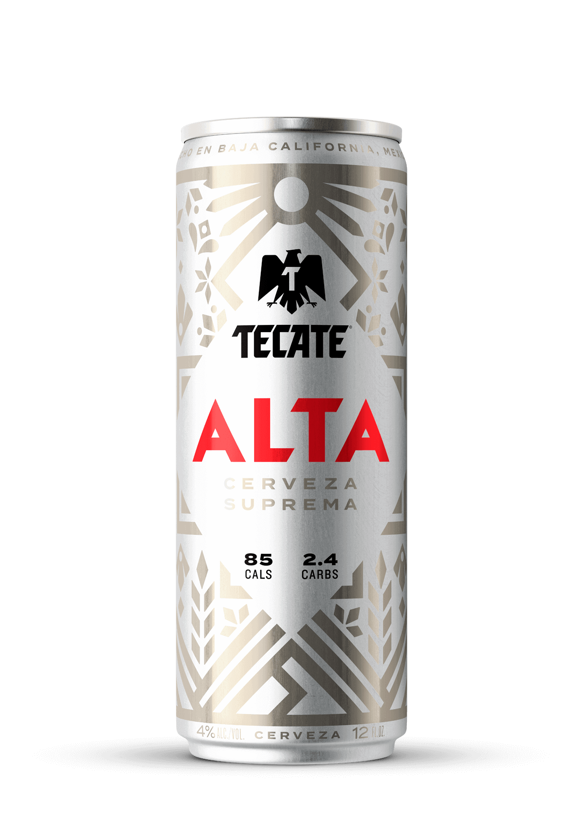 Tecate® Alta, silver can 12fl oz, with Mexican fretwork design. 85 Cals & 2.4 Carbs.